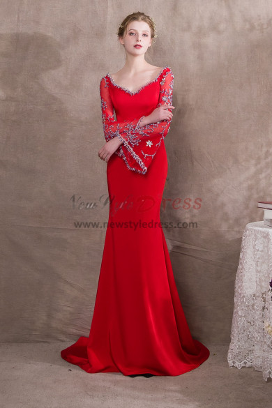Red Exquisite Beaded Prom dresses With Trumpet sleeve NP-0394