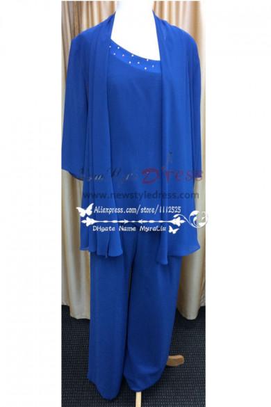 Royal blue chiffon Plus size mother