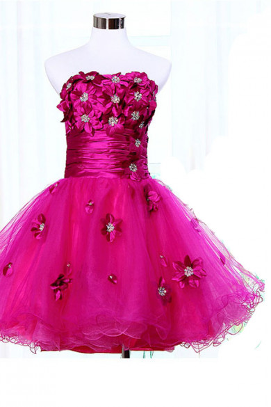 Ruffles lovely Above Knee Strapless 2017 new style Rose Red Homecoming Dresses nm-0070