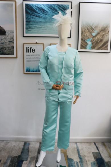 Satin 3PC Trouser suit Mother of the bride pantsuit Jade Blue outfit Aqua nmo-617