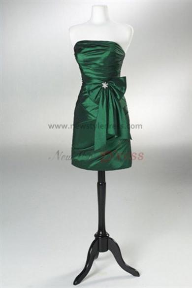 Satin Above Knee Strapless Sheath Bow Draped under 100 Prom Dresses nm-0001