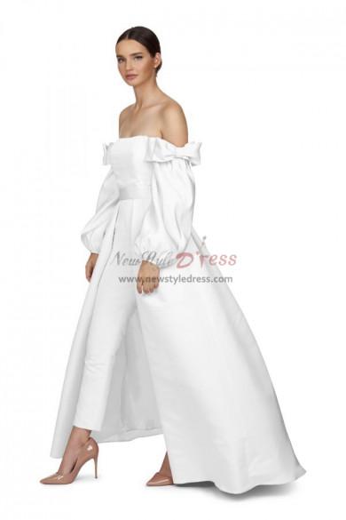 Satin Bridal Jumpsuit White Wedding Gown Detachable Train wps-157