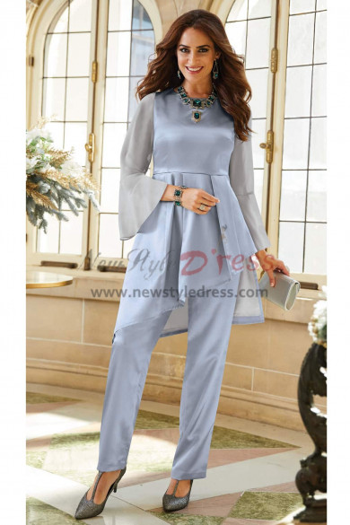 Satin Mother of the bride pant suit Two pieces Gray blue outfit special occasion Wear nmo-457
