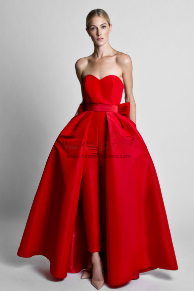 Red Satin Wedding Jumpsuit dresses With Detachable Train wps-166