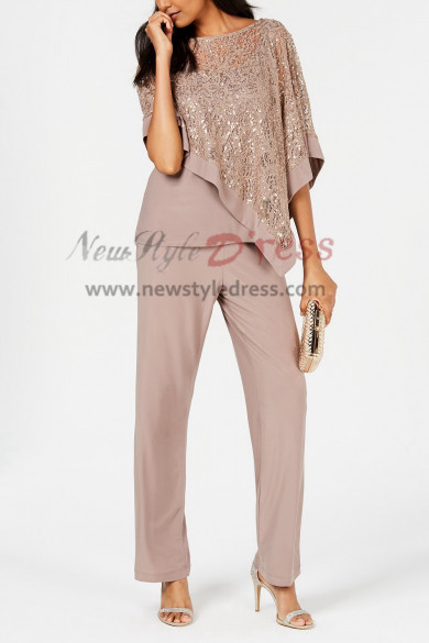 khaki Sequins Lace Overlay Top Trousers set Women