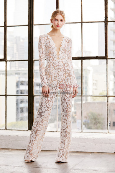 Deep V-Neck Lace Bridal Jumpsuits Wedding Pantsuit dresses wps-169