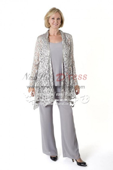 Silver Grey Stretch Lace outfit mother of the bride pant suit nmo-231