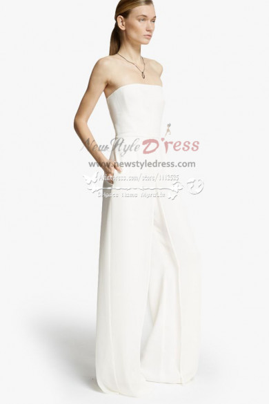 Simple pant suit wedding dress wps-014