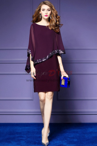 Simple right tilt Half Sleeves short dresses with Sequins nmo-314