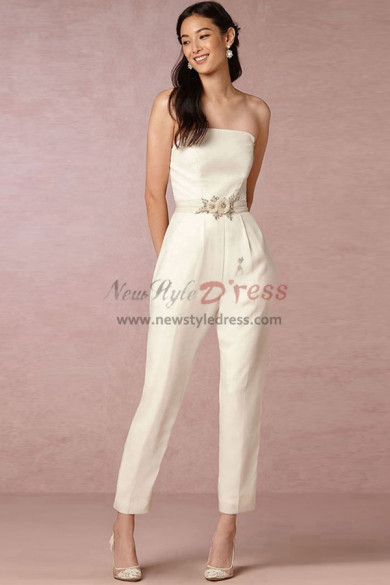 Simple Strapless Bridal Jumpsuits Wedding pants dresses Ivory wps-107