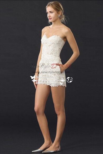 Simple Sweetheart short lace jumpsuit for summer wedding wps-070