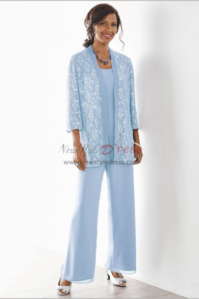 Sky blue Mother of the bride pant suits with jacket 3PC pants outfit nmo-536