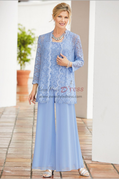 Sky Blue Mother of the bride trouser suits Loose Pants lace outfit for wedding nmo-601