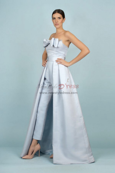 Sky Blue Satin Wedding pants Detachable Train Bridal Jumpsuit Gown wps-165