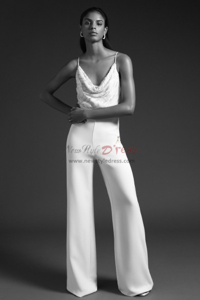 Spaghetti Bridal Jumpsuits wedding dresses Wide leg pants wps-141