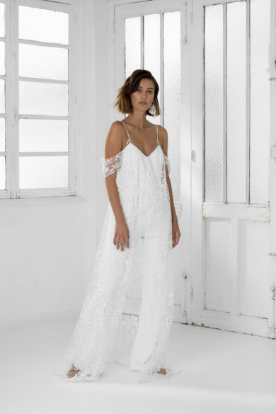 Spaghetti White Lace Wedding Jumpsuits Simple Bride Dresses wps-237