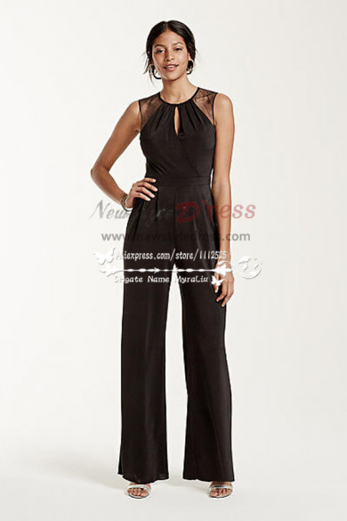 Spring Elegant Black chiffon wedding Jumpsuit nmo-229