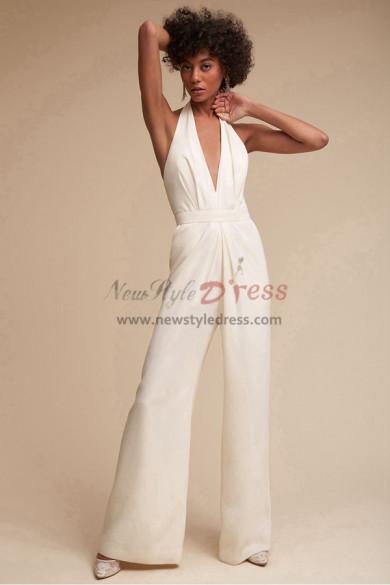 Spring Ivory bride dresses Halter Deep V-Neck Bridal Jumpsuit wps-109