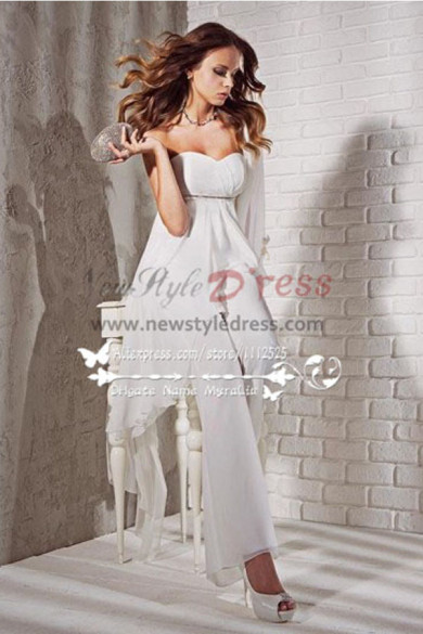 Strapless Chiffon Pants Suits for bride wedding wps-053