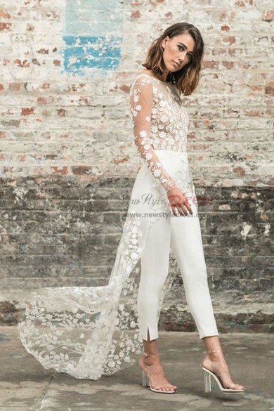 Summer wedding Bridal dress with train Summer beach bride Jumpsuit wps-117
