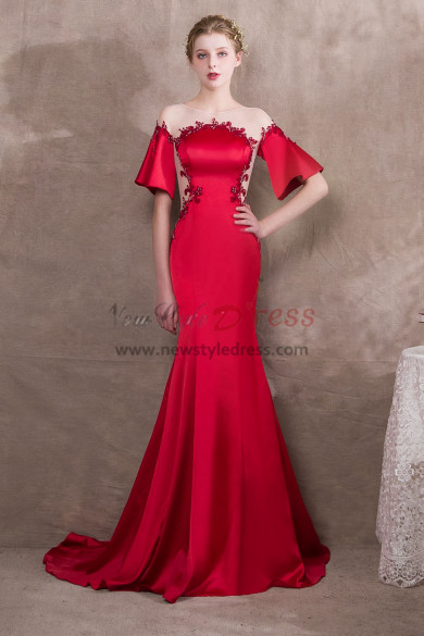 Sweep Train Red Satin Evening dress with Hand beading NP-0397