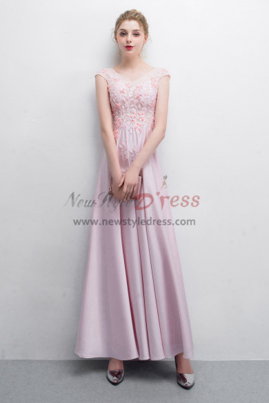 Sweet Pink Charmeuse Prom dresses V-neck Floor-Length dress NP-0389