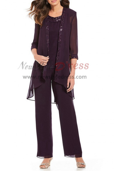 Three pieces Purple Chiffon pants outfit for Mother beach wedding nmo-408