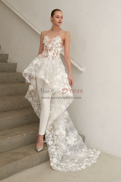 Train Bridal Jumpsuit Organza Flowers Wedding pants dresses wps-118