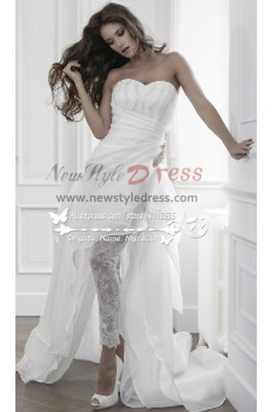 Unique wedding pants dress with Sweep Train wps-008