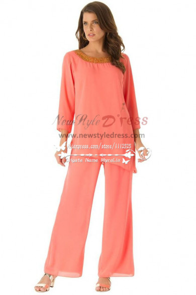 Watermelon red cozy chiffon mother of the birde pant suits dresses with three quarter sleeve