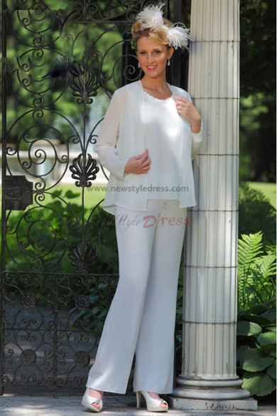 white Chiffon mother of the bride pants suits wedding nmo-024
