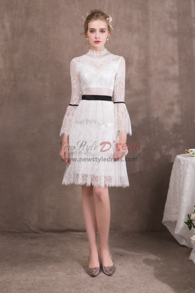 White Lace Knee-Length Prom dresses with Long Sleeves NP-0421