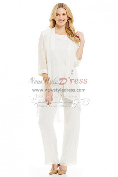 White outfits for wedding Mother of the bride chiffon pant suits Cozy Trousers set nmo-265