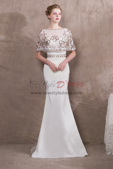 White Spaghetti Prom dresses with Hand beading Cape NP-0398