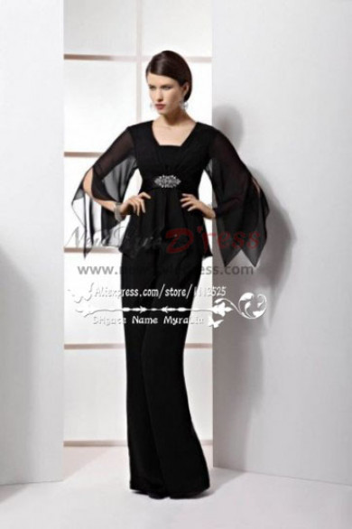 Black Chiffon two picec mother of the bride trousers suits nmo-201