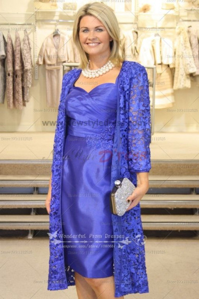 Elegant Royal Blue lace cardigan mother of the bride outfits dress cms-045