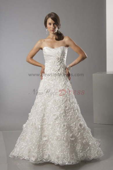 A-Line High-end Ruched Strapless Elegant Wedding Dress nw-0287