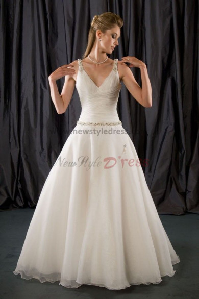 Sashes With Glass Drill Tank V-neck High-low a-line Princess Sweep Train wedding dress nw-0205
