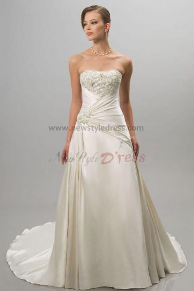 Simple Chest Appliques Sweep Train Elegant wedding dress nw-0297