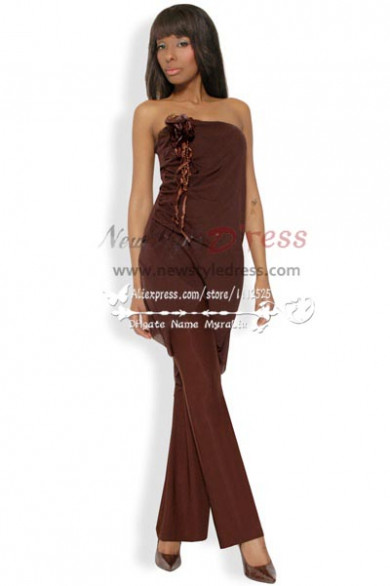 Unique Chocolate chiffon Strapless dress Charming mother of the bride pant suits nmo-212