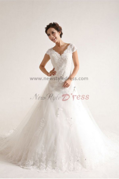 V-neck a line Elegant Sweep Train Lace Organza Hand-beading Wedding Dresses nw-0089