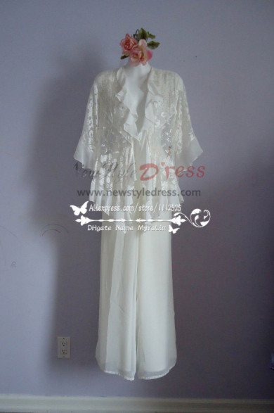 Ivory lace pant suits for the mother of the bride outfits nmo-187