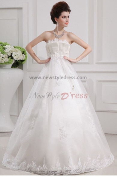 Empire A-Line lace tulle Strapless Halter Elegant Wedding Dresses nw-0045