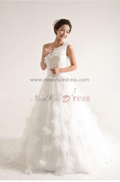 One Shoulder Princess lovely Glamorous Court Train Handmade flower Wedding Dresses nw-0088