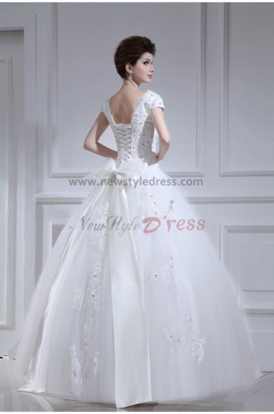 V-neck Ball Gown Short Sleeves Glamorous Floor-Length Appliques Bow Wedding Dresses nw-0097