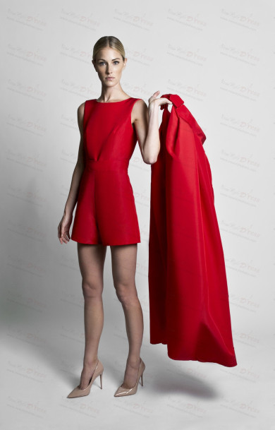 Red mini jumpsuit with Bow Disassemble Train dress wps-204