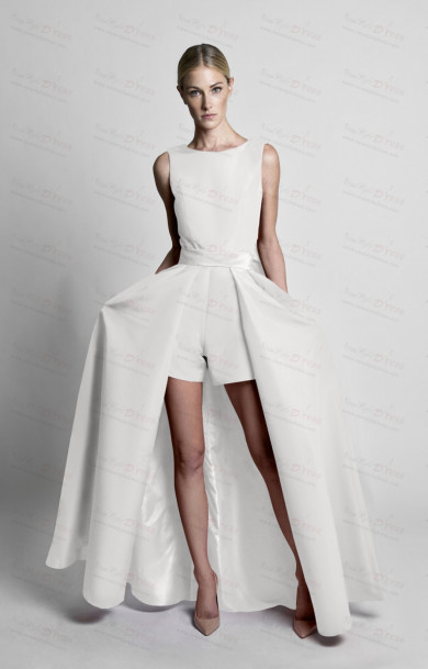 White Short pant with Bow Disassemble Train dress wps-204-1