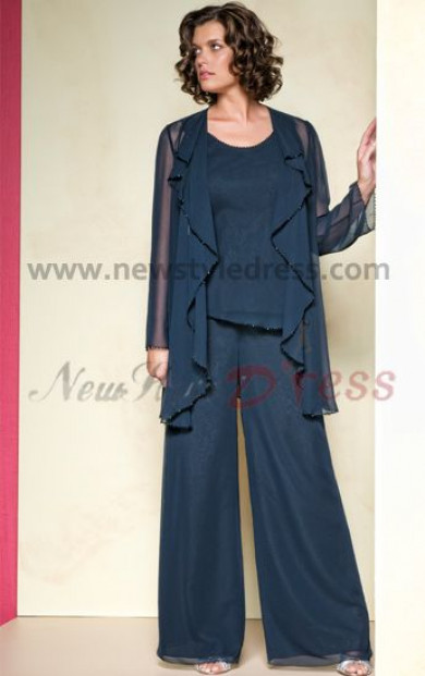 Dark Navy Loose spring Three Piece mother of the bride dress pants sets nmo-086
