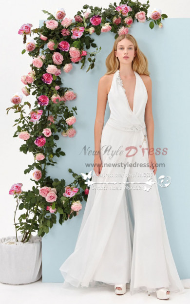 V-Neck halter jumpsuit A-line Pants Suit for wedding dresses bridal wps-054