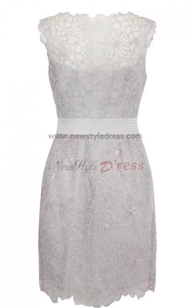2019 Scoop Lace Sheath Mini Evening Dresses nm-0047